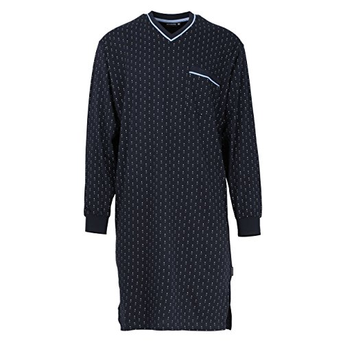 Götzburg Herren Nachthemd, Langarm, Baumwolle, Single Jersey, Navy, minimal 48
