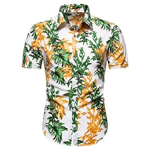 Xniral T-Shirt Für Männer Sommer Sports Fitness Oberteile Einfarbig Leicht, Atmungsaktiv Und Schnell Trocknend(h-Weiß,L)