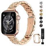 BesBand コンパチブル apple Watch バンド 38mm 40mm と互換性のあるアップグレードバージョンソリッド細い帯ステンレススチール交換,交換用ストラップウィメンズメンズ,iwatch SE/Series 6 5 4 3 2 1(38mm 40mm,ローズゴールド)