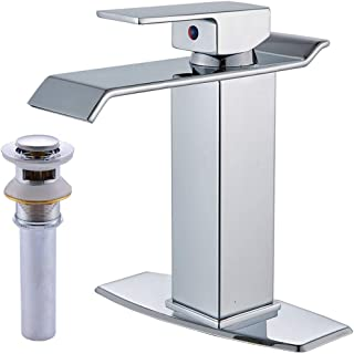 Votamuta Chrome Waterfall Spout Single Lever Bathroom Sink Vanity Faucet Deck Mounted Basin Mixer Tap with Cover Plate and Pop Up Drain