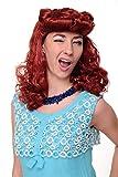 WIG ME UP- WIG018-P135 Peluca Mujeres Carnaval Scarlett Rockabilly 1950 roja Copete Larga