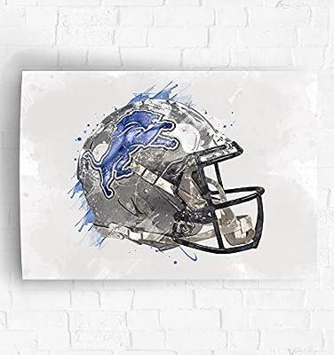 Detroit Lions Helmet Art Poster/Canvas Print - Football Artwork - Kids Room Wall Decor - Man Cave - Sports Decor - Birthday Gift Idea (Premium Poster, 11 x 14 Inches)