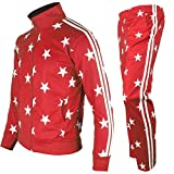 myglory77mall Men's Running Jogging Track Suit Jacket and Pants Warm Up Pants Gym Training Wear (XS US(M Asian Tag), Red Star)