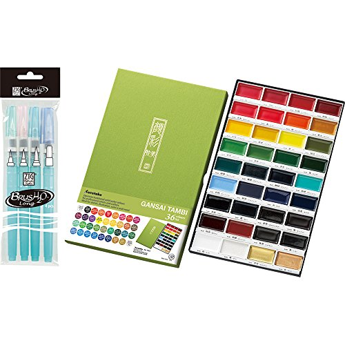 Kuretake MC2036V Gansai Tambi 36 Color Set (36Colors with 4 pens Set)