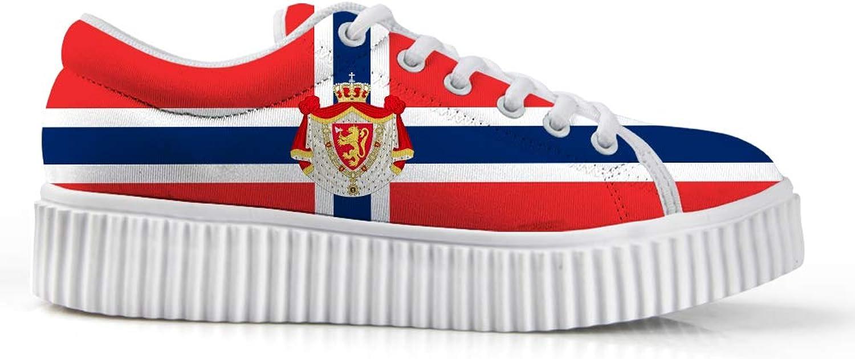 Owaheson Platform Lace up Sneaker Casual Chunky Walking shoes Low Top Women Norwegian Flag National Emblem
