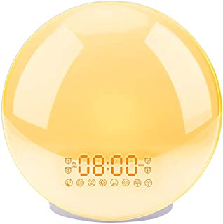 Sunrise Alarm Clock, LBell Upgrade Smart Wake Up Light Compatible with Alexa/Echo/Google, 8 Colors Sunrise Simulation and Sunset Fading Night Light for Bedrooms with FM Radio/ 4 Alarms/Snooze