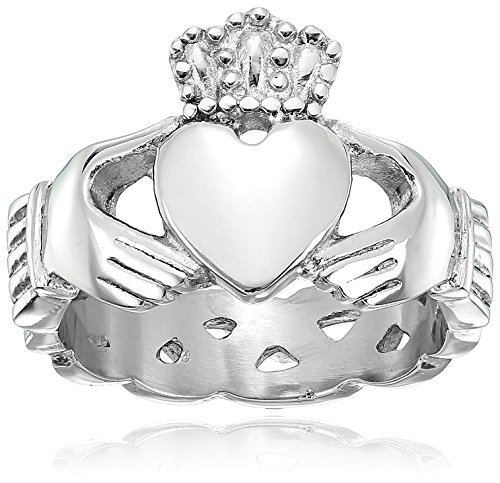 Crucible Jewelry Mens Stainless Steel Claddagh with Celtic Knot Eternity Design Ring, Size 9, White