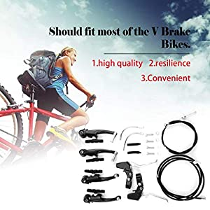 1 par V-Brake Set con Zapatas de Freno Bicicleta de montaña Tirón Recto Mecánico Dual-Pivot Juego de Frenos Repuestos Accesorios