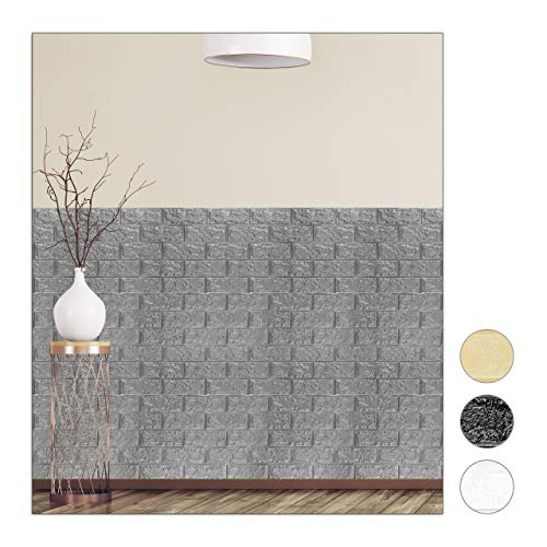 Relaxdays Wandpaneele selbstklebend, 10er Set, dekorative Steinoptik, 3D Paneele, weicher PE-Schaumstoff, 78x70cm, grau