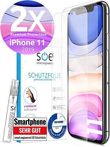 [2 Stück] 3D Schutzfolien kompatibel mit iPhone 11 - [Made in Germany - TÜV Nord] – HD Displayschutz-Folie - Hüllenfreundlich – Transparent – kein Schutz-Glas sondern Panzer-Folie TPU - Klar