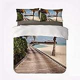 Juego de Funda nórdica Beach Comfortable 3 Bedding Set, Bungalows at Tropic Island Coconut Palm Trees on The Beach Secret Paradise Maldives para Hotel