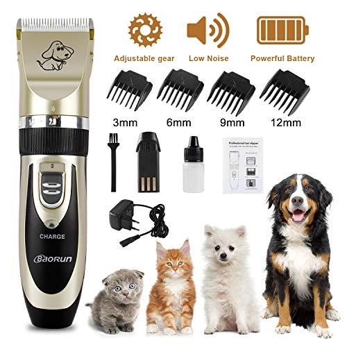 Wilktop Tosatrice Professionale Cani, Tosatrice Elettrica Professionale Batteria Ricaricabile Clipper Rasoio con 4 Testine per Cane e Gatto Trimmer (Oro)