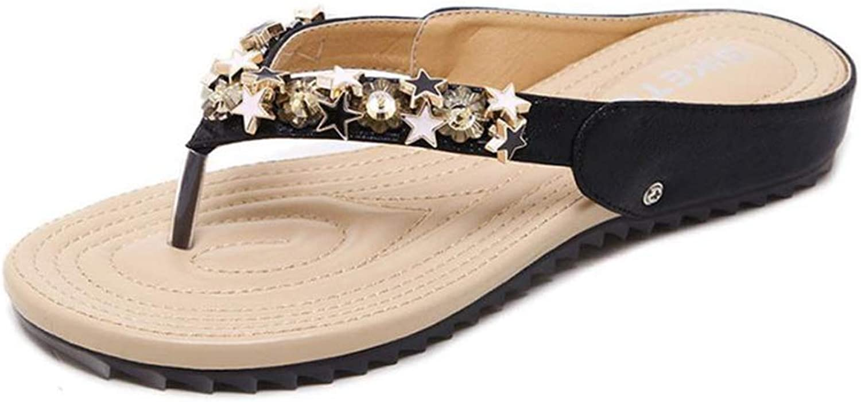 Women's Bling Star Flat Heel Thong Flip Flops Casual Antislip Female Girl Beach Summer Sandals