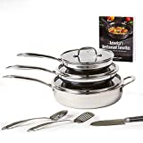 Copper Chef Titan Pan, Try Ply Stainless Steel Non-Stick Frying Pans, 10-Piece Cookware Set...