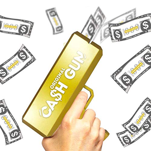 Original Cash Gun | Money Gun | Gold Superpistole | Geldpistole | Make It Rain | Party Gun | Mit 100 Scheinen Falschgeld | Zubehör | Spiel | Party | Von OriginalCup®