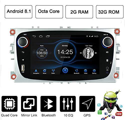 LEXXSON Estéreo para Coche Android 8.1 para Ford Focus Mondeo Galaxy S-MAX | Radio de Coche Android Octa Core Unidad de Radio con GPS Bluetooth 7 Pulgadas Pantalla táctil WiFi (Android 8.1 2G32)