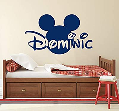 Mickey Mouse Name Wall Decal Head Ears Vinyl Sticker Decals Custom Name Personalized Baby Boy Name Decor Bedroom Nursery Baby Room Decor x148