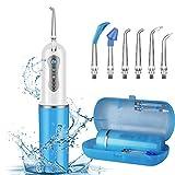 GEEDIAR - Irrigador dental dental inalámbrico recargable para el cuidado de los frenos y puentes, limpiador de dientes de viaje plegable con 4 modos y 6 puntas de repuesto