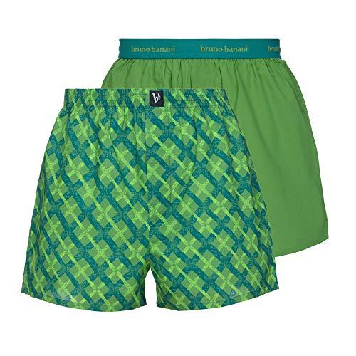 bruno banani Herren Reveller Boxershorts, smaragd/Kiwi karo // Kiwi, XL