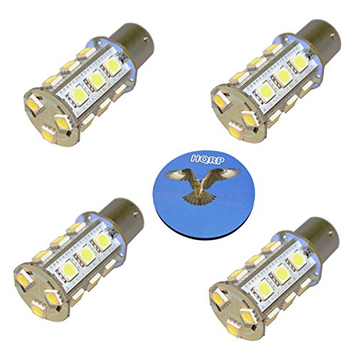 HQRP 4 unidades 3 W 250 lúmenes BA15s 18 LED blanco frío Bombilla para #1141# 1156 Casita RV interior/porche de repuesto DC Plus HQRP posavasos