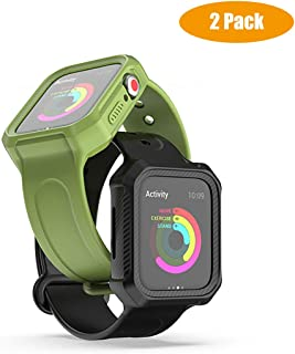 Compatible with Apple Watch Bands with Protective Case 40mm 44mm Shock-Resistant Wristband Silicone Replacement Strap with Cover for i Watch Series 4 iwatchbands (2Pack, 1 Black 1 Green)
