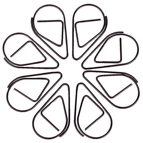 Graffetta - 100pz Forma di goccia d'acqua Segnalibro Graffetta in metallo Retro cava piccola Segnalibro a forma di goccia Clip di carta a forma di libro, memo, carta, poster, foto (nero)