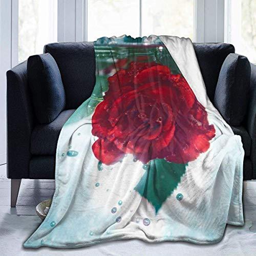 Rose Water Drop Throw Blanket Super Soft Comfy Micro Fleece Fuzzy Blanket Decorative Blanket Hypoallergenic