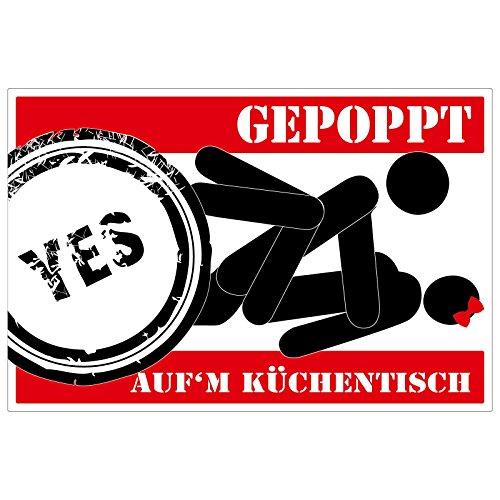 pinkelephant Aufkleber/Autoaufkleber - GEPOPPT auf'm Küchentisch - 12,5 cm x 8 cm - Trend Gag Fun - witzig - lustig - Kult