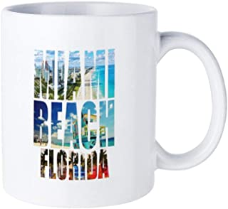 Miami Beach Florida Retro City Logo Ceramic Coffee Gift Tea Cup, 14 OZ. Cup Reat Gifts For Mom, Dad and Office