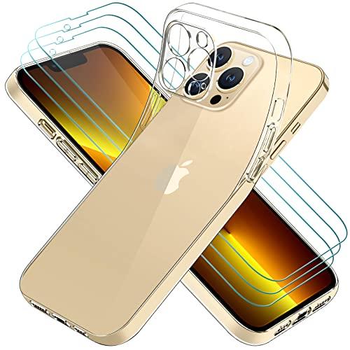 ivoler Hülle Kompatibel für iPhone 13 Pro 6.1 Zoll, mit 3 Stück Panzerglas Schutzfolie, Dünne Weiche TPU Silikon Transparent Stoßfest Schutzhülle Durchsichtige Handyhülle Kratzfest Hülle