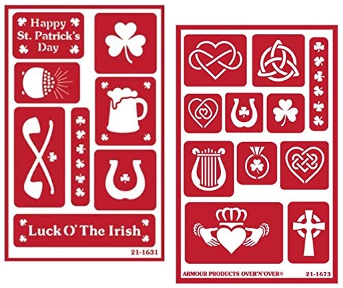 2 Armour Etch Over N Over Reusable Glass Etching Stencils Set | Irish Theme with Shamrock, Clover, Celtic Knot, Harp Designs