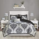 Intelligent Design Senna Comforter Set Full/Queen Size - Black/Gray, Damask – 5 Piece Bed Sets – All Season Ultra Soft Microfiber Teen Bedding - Great For Guest Room and Girls Bedroom