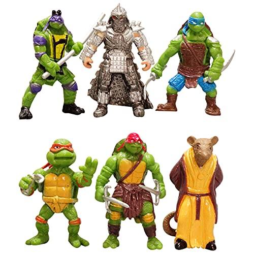Ninja Turtles Cupcake Topper, 6PCS Mini Figuren Set Ninja Turtles Actionfiguren Sets Kuchen Dekoration Lieferungen Cake Topper für Kinder Mädchen Party Dekoration