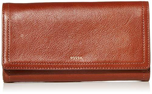 Fossil Women s Logan Faux Leather Flap Clutch Wallet, Brown