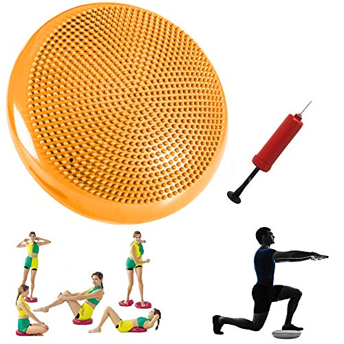 Stability Balance Disc with Hand Pump - Inflated Exercise Wobble Cushion, Kid's Air Seat Wiggle Chair Sitting Disk, Lumbar Pain Relief Support Board for Classroom Office Chair - Core Training (yellow)