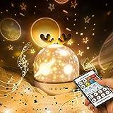 Proyector de Cielo Estrellado con Mando a Distancia, Linda Lámpara de Proyección con Temporizador y 8 Canciones de Carga USB, Regalo Para Niños y Niñas, Decoración de Habitación Infantil