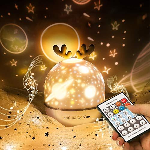Proyector de luz estrellada con control remoto, linda lámpara de proyección de elfo SYOSIN con temporizador giratorio y 8 lámparas de canción incorporadas Regalos de carga USB para niño & niña (gris)