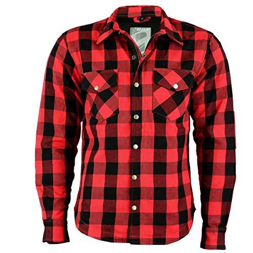 BOSmoto Motorrad Flanell Holzfäller Hemd mit KEV ARAMID, Lumber Biker Jacke Hemd (Rot, m)