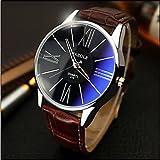 Sports Watches Relojes de Hombre Yazole Relojes Relojes de los Hombres sinfonía Azul Espejo Idea de Cuarzo Resistente al Agua Regalo Reloj del Negocio Relojes de Mujer (Color : Marrón)