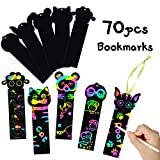MALLMALL6 70Pcs Animal Scratch Bookmarks Rainbow Scratch DIY Hang Tags Party Favors Theme Birthday Party Classroom School Supplies Decorations Crafts Kit for Kids