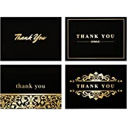 100 Thank You Cards Bulk - Thank You Notes- Blank Note Cards with Envelopes - Perfect Business, Wedding Card, Bridal and Baby Shower Card - 4x6 Photo Size (Bold Jet Black)