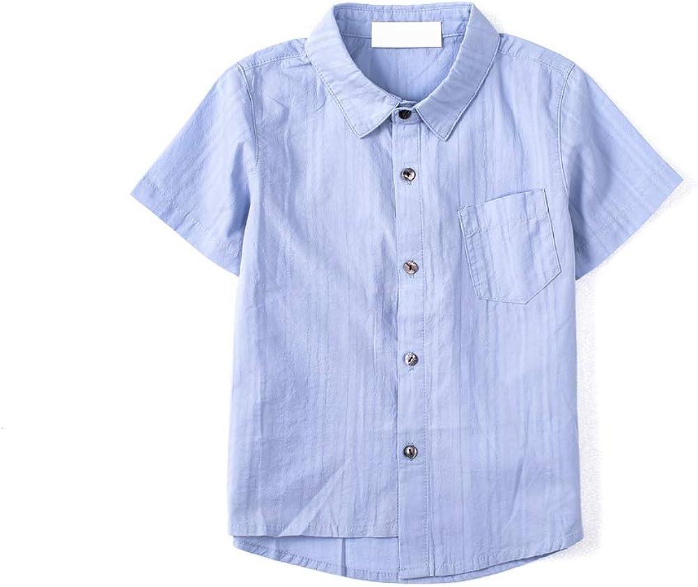 Toddler Boys Short Sleeves Chambray Button Down Shirts