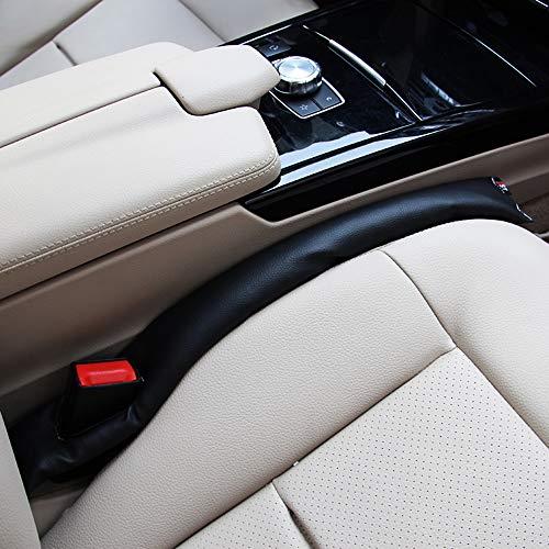 Fliyeong Schwarz Autositz Gap Filler Stopper Innen Zubehör Universal Pu-Leder Auto Sitzpolster Lücke Spacer Füller Polsterung (2 Stücke)