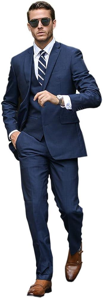 Ike Chimbandi Men's Suit 3-Piece Two Button Notched Lapel Slim Fit Suits (Jacket+Pant+Vest)