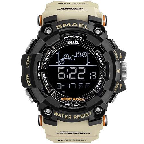 JTTM Herren Digital-Sportuhr Militär Große Zahlen 50 M Wasserdicht Schlichtes Design Armee-Armbanduhr LED-Hintergrundbeleuchtung Casual Armbanduhr Für Herren,Khaki