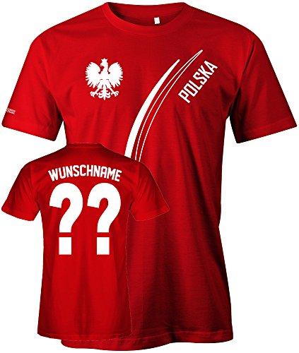 Jayess Polska Fan T-Shirt 103 - Wunsch - Personalisierbar mit Wunschname und Wunschnummer - Herren Rot Gr. M