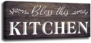 Rustic Wooden Kitchen Sign, Farmhouse Wall Hanging Sign Kitchen Decoration Plaques, Bless This Kitchen, Family Wooden Sign Wall Art Decoration Quote Box (5.5 X 12 inch, Kitchen-Z)