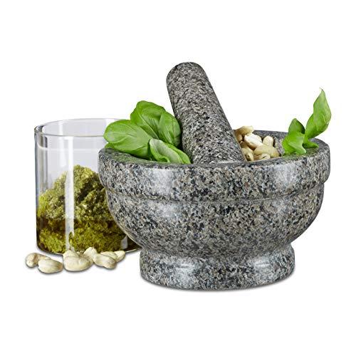 Relaxdays Mortier et pilon en granit poli pierre naturelle 17 cm diamètre pour épices cuisine, gris
