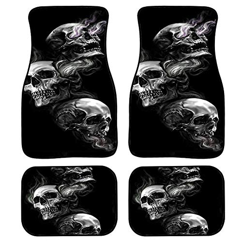 Buybai Car Floor Mats Skull Cool Design Fashion Black and White Classic Foot Carpet Universal for Car SUV Van