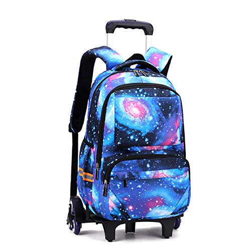 LHY EQUIPMENT Lightweight Trolley Backpack, Starry Sky Pattern Children's Trolley Rolling Can Climb Stairs Waterproof Detachable Durable Wheeled Backpack for Primary School Students,Blue